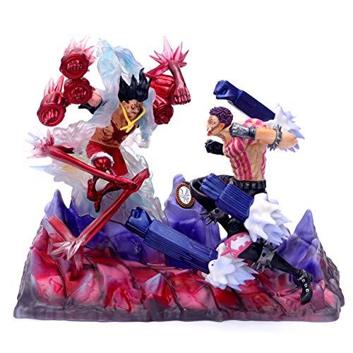 Qdegui Basis Figur Aktionsspielzeug 26 cm One Piece Modell Action Figuren Spielzeug PVC Charlotte Katakuri GEGEN Ruffy Statue Geschenk Actionfigur Kinderspielzeug