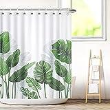 Aitsite Duschvorhang Bananenblätter Pflanzen Badezimmer grüne Textil Vorhang Antischimmel Effekt Blumen waschbar Shower Curtain Badewanne inkl. 12 C-Ringe Gewicht unten 180x180(BxH) cm