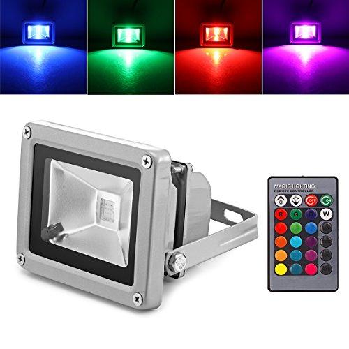 DEBEME 10W RGB LED Projecteur de Lumière avec Télécommande Étanche pour Jardin Extérieur Paysage AC 85-245V Prise UE