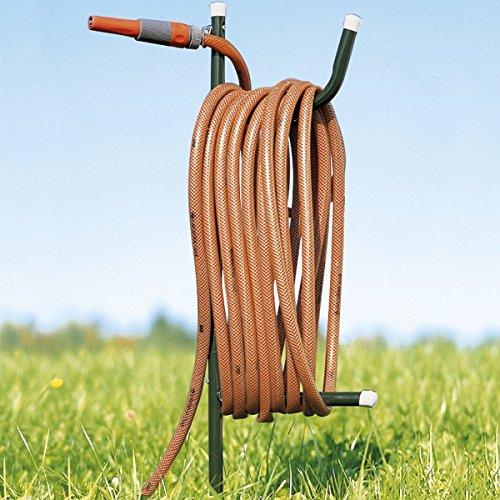TRI Schlauchhalter, Gartenschlauchhalter, Aufhängemöglichkeit, Geräteschuppen, Gartenschlauchständer, Erdspieß, Metall, 96 cm