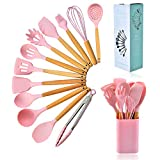 13Pcs Silicone Cooking Utensils Kitchen Utensil Set, 446F Heat Resistant,Cooking Tools, Kitchen Gadgets Turner Tongs,Spatula, Spoon, Brush,Whisk for Non-stick Cookware utensils set (BPA Free) Pink
