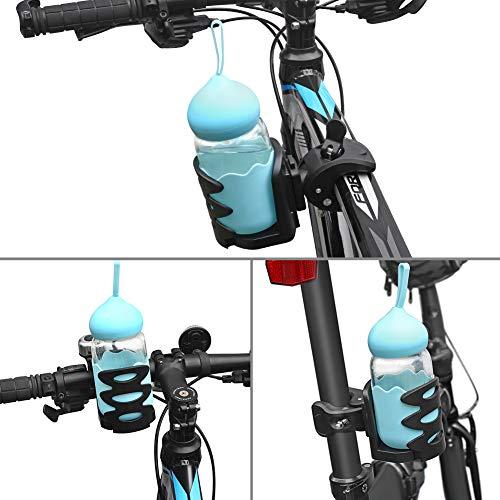 Cocoda Getränkehalter Becherhalter Fahrrad, 360° Drehbar Universal Flaschenhalter Kinderwagen Anti-Slip Einstellbarer Becherhalter für Trinkflaschen Nuckelflaschen Kaffeehalter (Schwarz) - 6