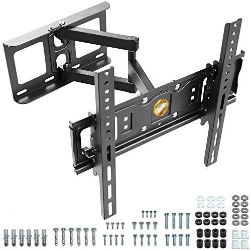 RICOO Fernseher TV Wand-Halterung Schwenkbar Neigbar (S6144) Universal für 32-55 Zoll (bis 50-Kg, Max-VESA 400x400) LCD OLED Flach Curved Bildschirm Fernsehhalterung Ausziehbar