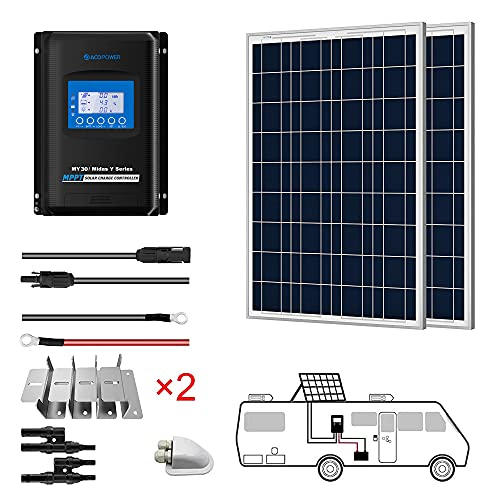 ACOPOWER 200 Watts 12/24 Volts 2PCS 100watts Polycrystalline Panel Solar RV Kits with 30A MPPT LCD Charge Controller/Mounting Brackets/Y Connectors/Solar Cables/Cable Entry housing
