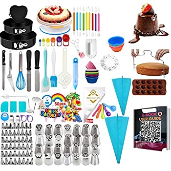 443 PCS Cake Decorating Supplies Kit with Cake Turntable and 48 Numbered Piping Tips with Pattern Chart Baking Tools Set 3 Packs Springform Cake Pans Fondant tools Measuring cups & Spoons  443PCS