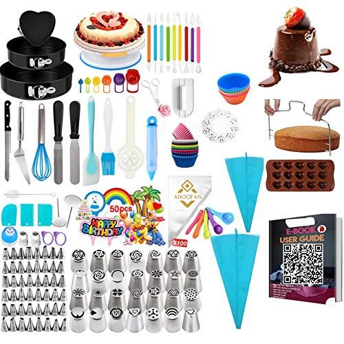 443 piezas de suministros para decoración de tartas con tocadiscos para tartas y 48 puntas numeradas con tabla de patrones, juego de herramientas para hornear, 3 paquetes de moldes para tartas, herramientas de fondant, tazas de medición y cucharas (443 piezas)