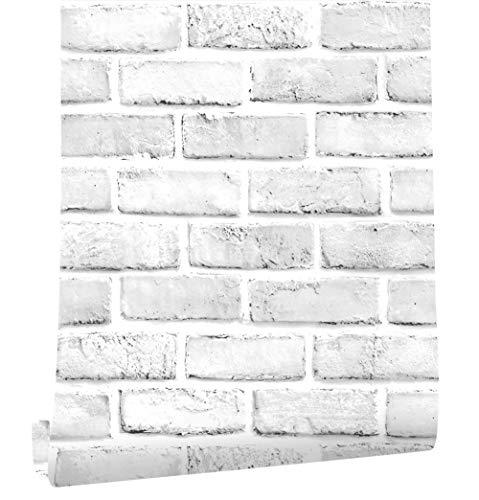 Selbstklebend Tapete Wandpapier Ziegel Selbstklebende Wandaufkleber Vintage Backstein Stein tapeten Dekorative Aufkleber für Möbel Wandtür Wasserdicht (Brick 3, 45X300cm)