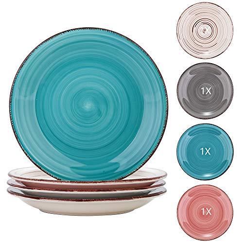 vancasso serie Bella Juego de Platos de 4 piezas Platos de Postre Vajillas de Gres Colores mixes