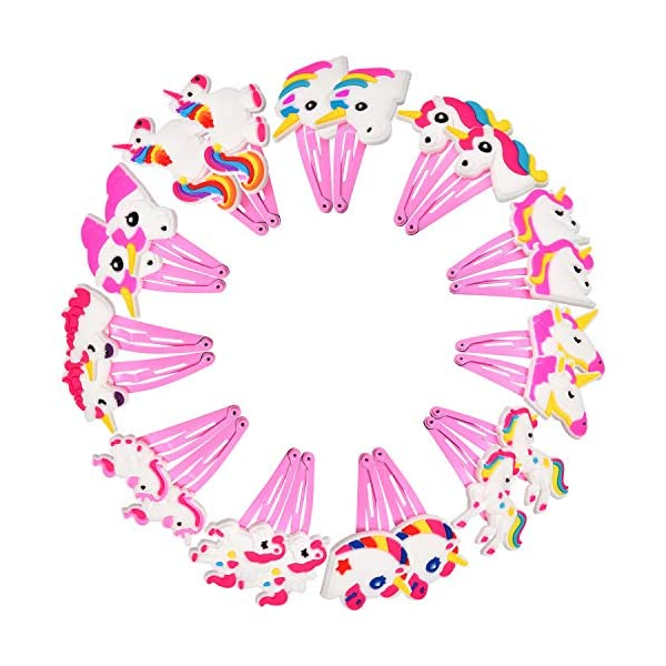 BBTO 22 Pieces Unicorn Pattern Hair Clips 1.57 inch Anti-slip Snap Hair Clips Barrettes Hairpins for Baby Girls Unicorn… 2
