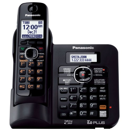 Panasonic KX TG6641B DECT 6.0 Cordless Phone with Answering System, Black, 1 Handset