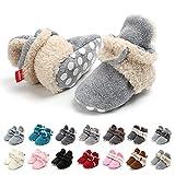 Botas de Niño Calcetín Invierno Soft Sole Crib Raya de Caliente Boots de Algodón para Bebés (0-6 Meses, Gris-Caqui, Tamaño de Etiqueta 11)