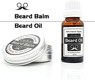 Shreeyas Lanthome 2pcs Beard Balm Moustache Cream Beard Oil Set Conditioner Beard Balm Healthy Moisturizing Moustache Wax Natural