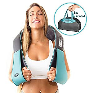 Shiatsu Back shoulder & Neck Massager With Heat – Deep Tissue 3D Kneading Pillow Massager for Neck, Back, Shoulders, Foot, Legs – Electric Full Body Massage – for Home & Car
