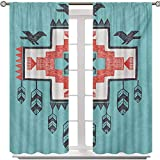 Aishare Store Blackout Curtain, Tribal Aztec Hand Drawn Dreamcathcher Folkloric Icons Birds Image, 2 Panels 54 Inches Long Room Darkening Curtain Panels for Kid Room, Multicolor