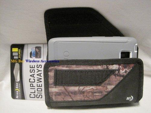 Nite Ize Black/Camouflage Mossy Oak Extended Sideways Horizontal Rugged Heavy Duty X-large Cover Case W/Durable Fixed Belt Clip Fits Verizon Motorola Droid Razr HD Xt926 Maxx /Ultra Xt1080 Otterbox Defender / Commuter