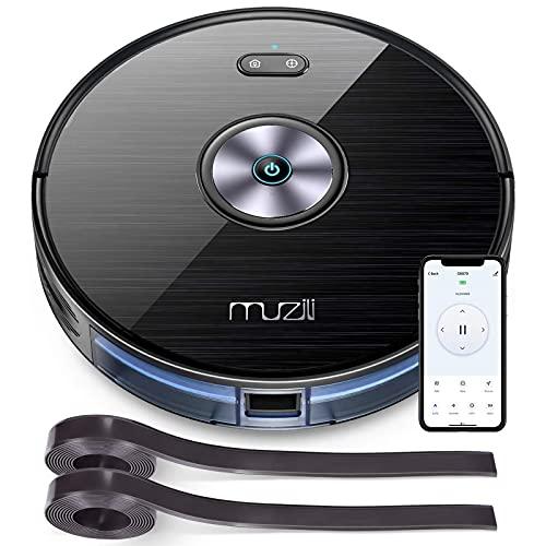 Muzili Robot Aspirador, WLAN Robot Aspirador y Fregasuelos con Depósito de Agua, Control de App, Compatible con Alexa y Google Home con 6 Modos de Limpieza para Pelo de Mascotas,  Alfombras y Pisos Duros