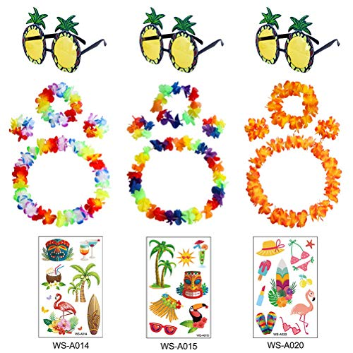 kuou 12 Pcs Hawaiian Lei Flower Garlands with 3 Pcs Pineapple Sunglasses and Tattoo Sticker for Fancy Dress Beach Party, Hawaiian Party Decorations(3 Set)