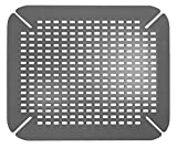 iDesign Kitchen Sink Mat, Large Sink Protector Mat Made out of Durable Plastic, Practical Drainer Mat for Kitchen Sink , Grey