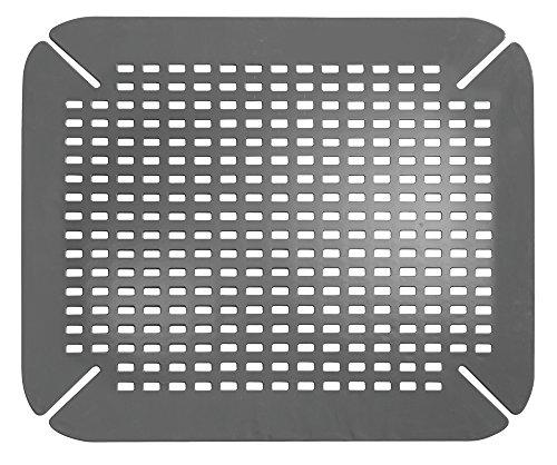 iDesign Alfombrilla escurreplatos, protector de fregadero grande de plástico PVC para fregaderos de cocina, rejilla escurreplatos con orificios de drenaje, gris