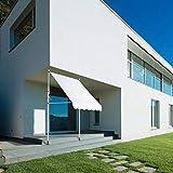 Emoshayoga Toldo de Ventana Manual con Sombra de jardín de 2.0x1.2M para Patio(Beige, White)