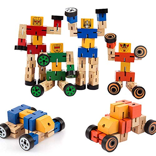 Wooden Robot Toy Deformation Robot Buddies for Kids Role Playing Robots Space Theme Party Activity Robot Toy Fans (Pack of 2)