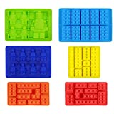 Minifigure Building Block Ice Cube Trays, Candy Chocolate Gummies Molds, Robot Brick Silicone Jellos Molds, Set of 6