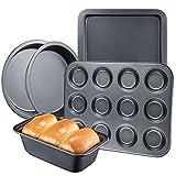 Deik Set de Pâtisserie Anti-adhésif 5 Pièces, Acier Carbone Résistant, 2 Moules a Gâteau Ronds, Moule à Cake, Moule à Muffins, Plaque, sans PFOA