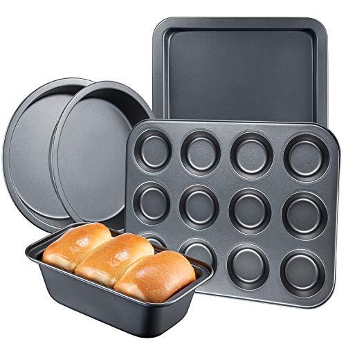 DEIK Kuchenform Set 5-teilig Backform aus Karbonstahl mit Antihaftbeschichtung für einfache Entnahme, spülmaschinenfest, für Backen mit Kindern zu Hause