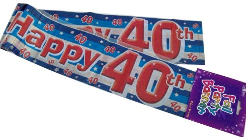 Happy 40th Birthday Blue Foil Holographic Plastic Banner 9ft Long by The fancy dress and party store