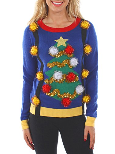 Tipsy Elves Women's Tacky Christmas Sweater - Christmas Tree Sweater with Suspenders M Blue