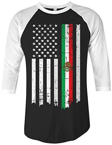 Threadrock Mexican American Flag Unisex Raglan T-Shirt L Black/White
