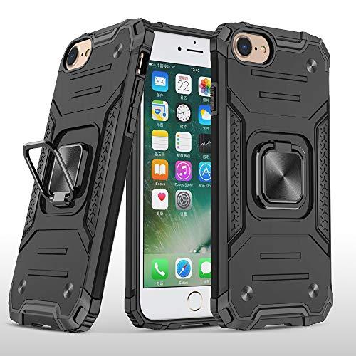 COCOMC Funda para iPhone 6G/7G/8G/SE 2020 Carcasa Case Soporte de Anillo Metal Protector PC Rígido+TPU Soft Anti-caída Dactilares Magnética Cover[New Upgrade] Negro