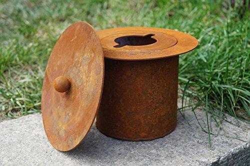 Dekostüberl Rostalgie Edelrost Feuertopf mit Deckel D15 cm Beleuchten Metall Gartendekoration