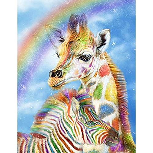 51buytoutgo Giraffe & Horse Stamped Cross Stitch Kits Beginner, 11ct Easy Funny Preprinted Printed Counted Cross Stitch Patterns Kits for Adults Kids Beginners, Embroidery Starter Kits for Beginners