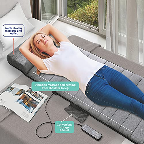 Full Body Vibrating Mat and Shiatsu Neck Massager - Warming Bed Vibrating Pad Cushion with 10 Vibrating Motors - Warming Shiatsu Pillow Massager - Relieves Stress, Tensions from Shoulder & Back Pain