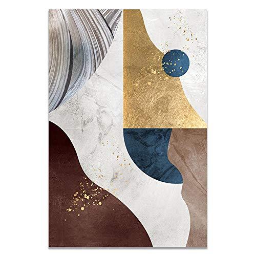 U/N Póster Abstracto de Bloques de Color Dorado con patrón geométrico Moderno, Impresiones artísticas en Lienzo, Cuadros de Pared para la Pintura de la Sala de Estar-9