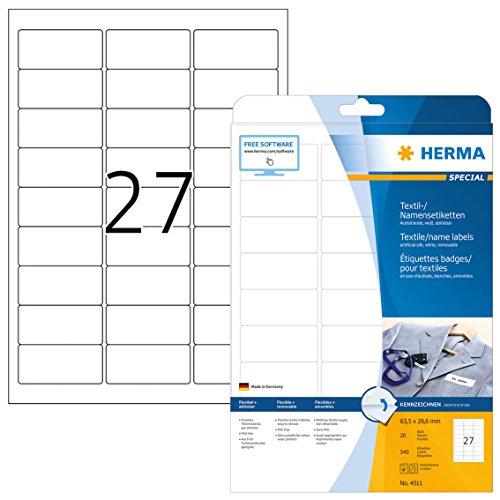 HERMA 4511 Namensetiketten DIN A4 ablösbar (63,5 x 29,6 mm, 20 Blatt, Acetatseide) selbstklebend, bedruckbar, rückstandsfrei abziehbare Namensaufkleber, 540 Klebeetiketten, weiß