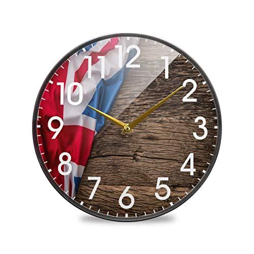 Bandera británica del Reino Unido en Madera Londres Inglaterra Reloj de Pared Redondo Funciona con Pilas Cuarzo silencioso sin tictac para el hogar Sala de Estar Oficina Cocina Dormitorio