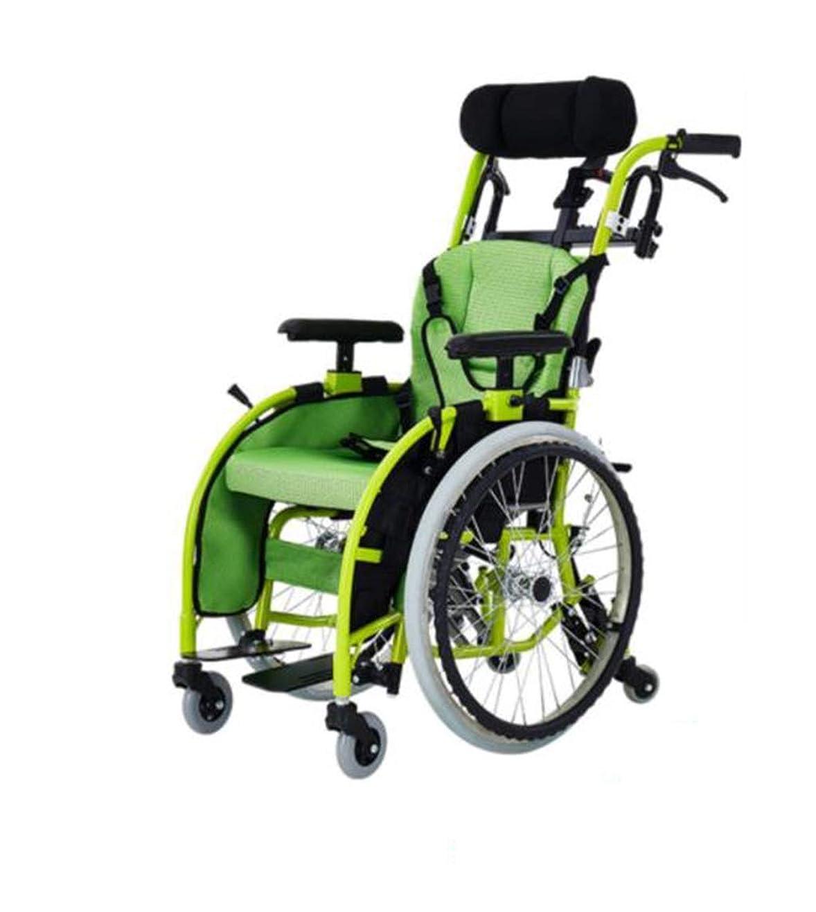省略するキラウエア山確実子供用車椅子折りたたみライト小さなポータブルハンディキャップトロリー子供アルミ合金手動車椅子