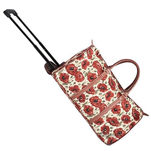 Signare Tapisserie Reisetasche mit Rollen, Trolley-Reisetasche, Sporttasche mit Rollen, Rollenreisetasche mit Blumenmustern (Mohn)