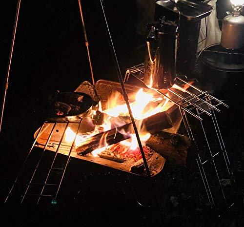 キャンピングムーン(CAMPINGMOON)焚き火ゴトク焚き火グリルステンレスφ6丸棒クッカースタンド焚き火ロストルマルチ鉄脚帆布ケース付きMTG-TLA