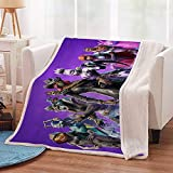 Anime Blanket Video Game Throw Blanket Warm Crystal Velvet Sherpa Blankets Purple for Couch Bed Sofa Boy's Birthday Gift 51x60 in