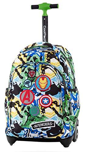 COOLPACK Avengers Trolley Rucksack mit Teleskopgriff Schulrucksack Kinder-Rucksack auf Rädern 24L Koffer Lizenz + Regenhülle Neon
