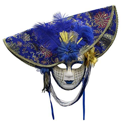 Mscara Veneciana del Bufn de Modelo Vintage Mujer para Carnaval Halloween Navidad Cosplay Fiesta Bola de Fantasa (Azul)