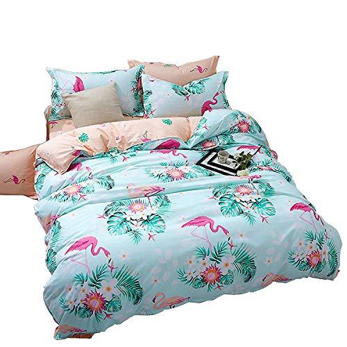 HOHH - Juego de funda de edredón con 2 fundas de almohada para cama de niños, tamaño doble de 4 piezas (no incluye edredón), color verde