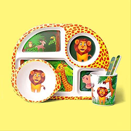 GJDBBLY Plato Bebe Juego de vajilla para niños de Fibra de bambú Que Come en casa Plato de Cena para bebé Compartimento para bebé tazón de arroz de Dibujos Animados como se Muestra León