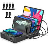 Wireless Charging Station for Multiple Devices,RUMIXI 5 in 1 Fast Qi Charging Dock Station with 10W Max Wireless Charger and 4 USB Ports,Quick Charger PD 3.0 20W for Apple iPhone/iPad/Samsung/Android