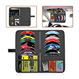 Trobo Car Visor Organizer, 18 Double Sided Sleeve Pockets CD Holder for Personal Items, Documents, 2 in 1 Registration and Insurance Card, Ticket & DVD Storage Case Pouch, Interior Visor Accessories