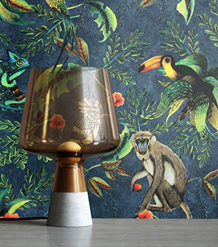 NEWROOM Tapete Modern Blumen Dschungel grün Vliestapete blau Vlies moderne Mustertapete Tapete Blumentapete Wallpaper Floral inkl. Tapezier Ratgeber