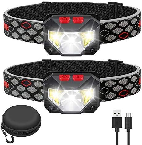 Kucoal LED Rechargeable Headlamp 2 PACK Waterproof Flashlight Motion Sensor Control Head lamp product image